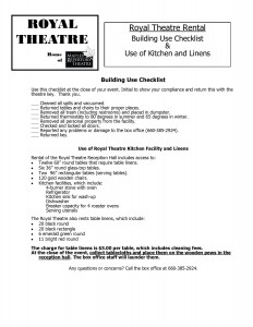 Royal Theatre Building Use Checklist