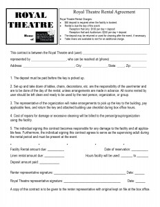 Royal Theatre Rental Agreement